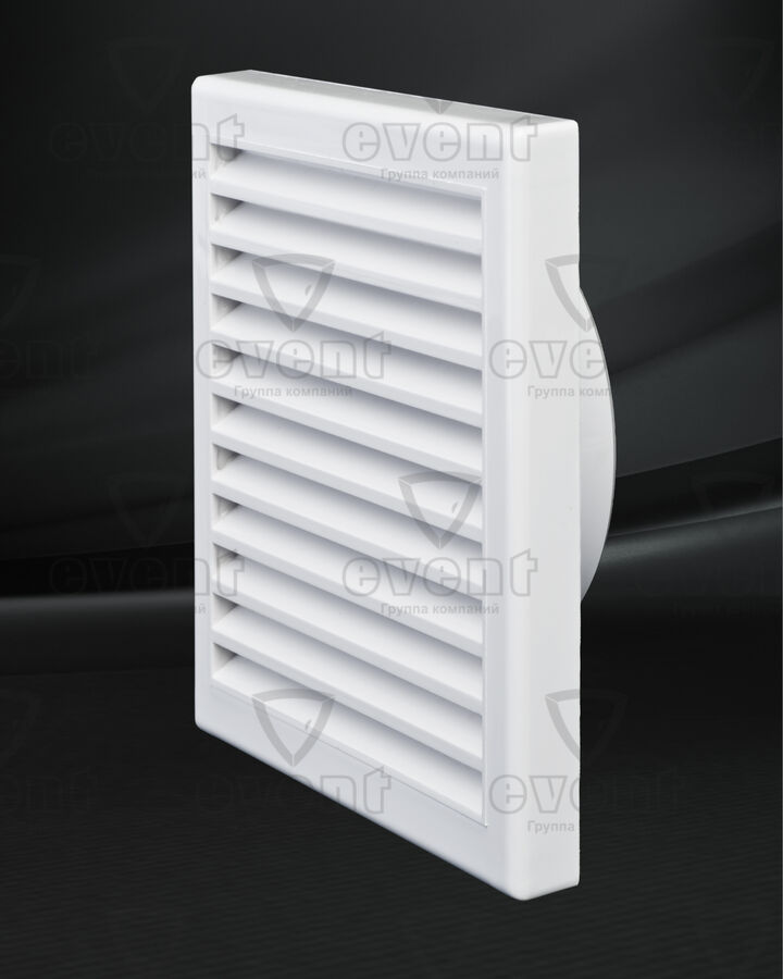 Решетка пластиковая с наклонными жалюзи (тип В) в сборе с фланцем